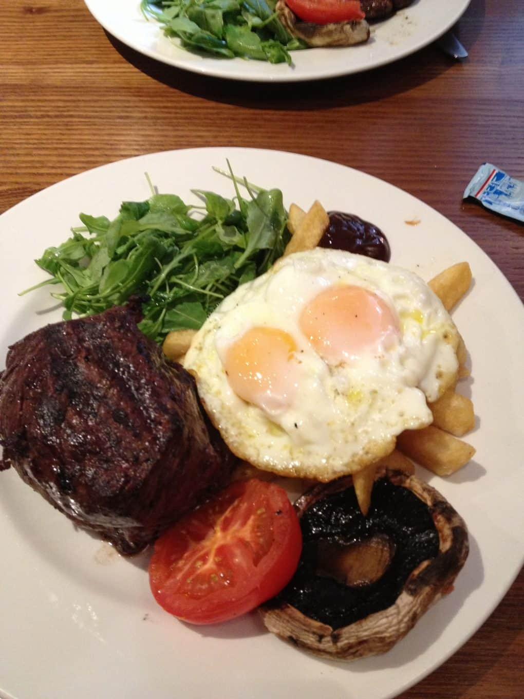 16oz Steak with Eggs, Chips and Salad
