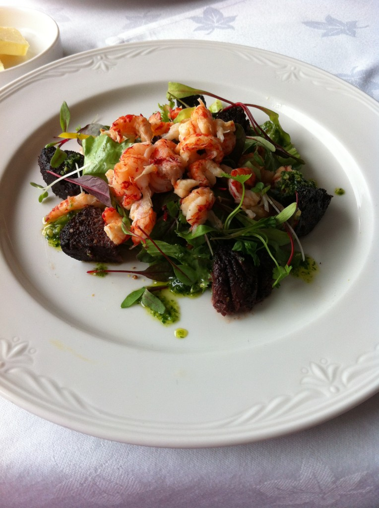 Cray fish and black pudding salad