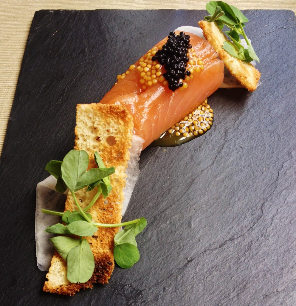 Scottish Smoked Salmon on a grey slate