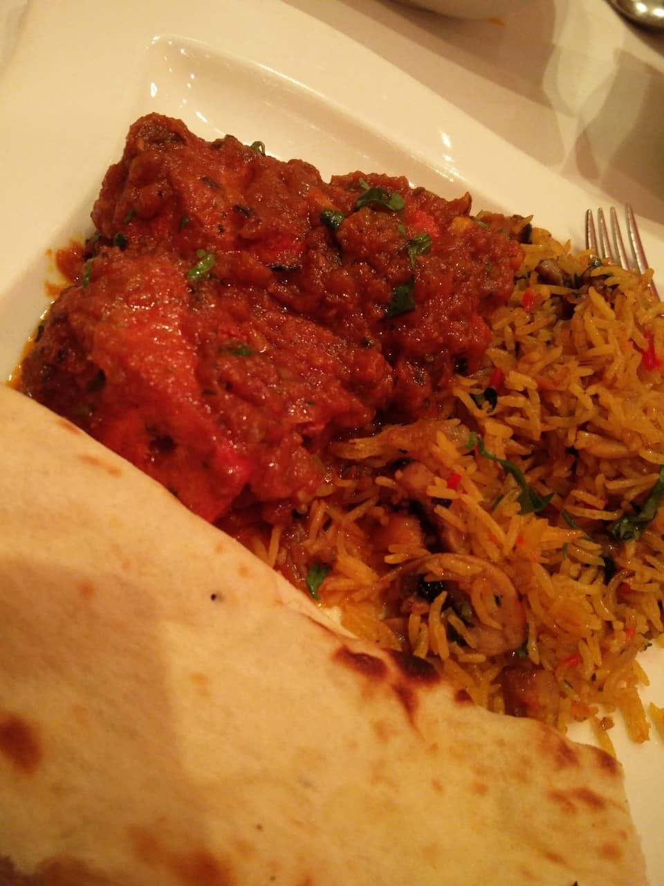 Ginger Murgh, Naan Bread, Mushroom Pilau Rice